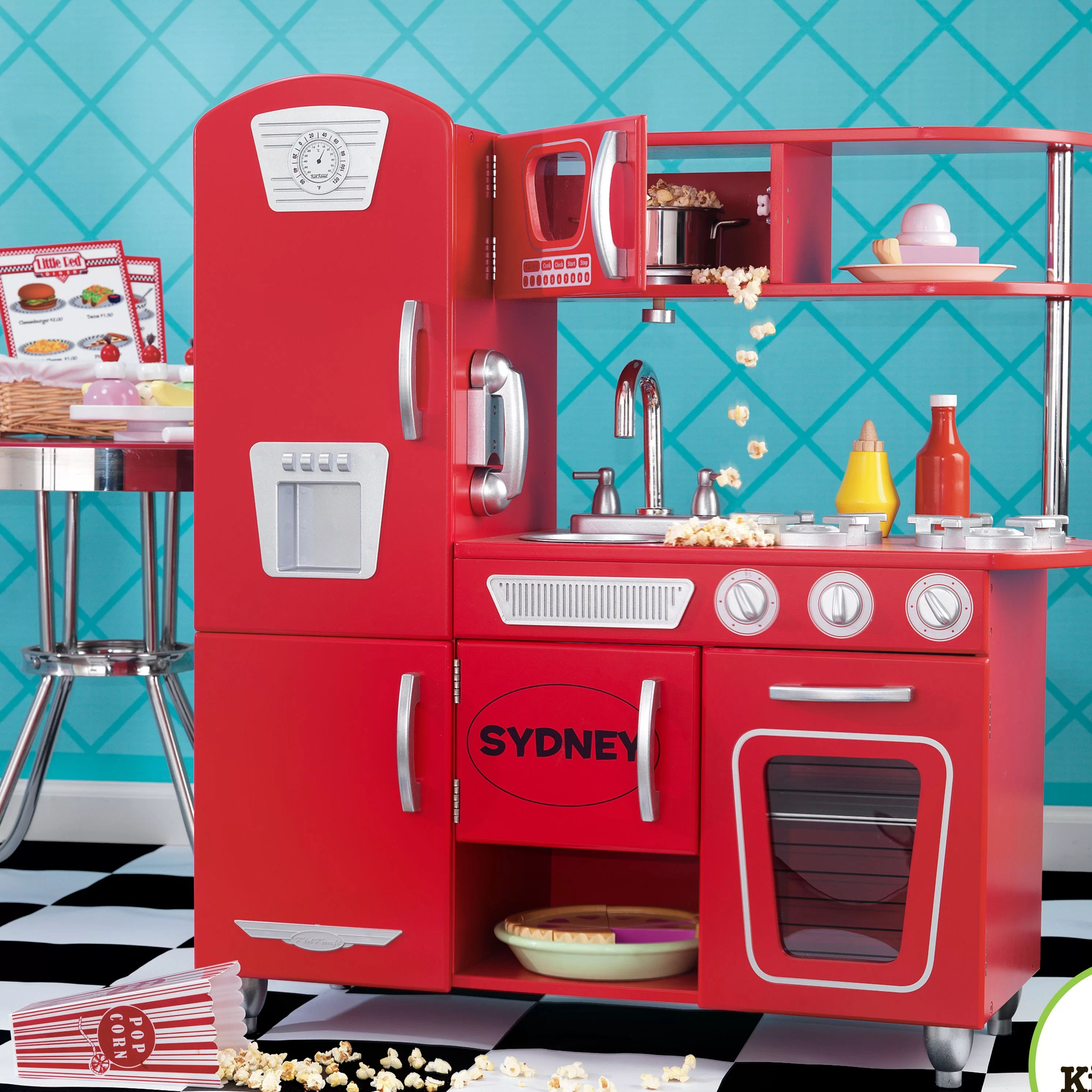kidkraft red vintage kitchen 53173 pro style faucet personalized & reviews | wayfair