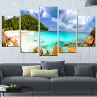 DesignArt 'Seychelles Beach Panorama' 5 Piece Wall Art on ...
