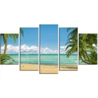 DesignArt 'Palms at Caribbean Beach' 5 Piece Wall Art on ...