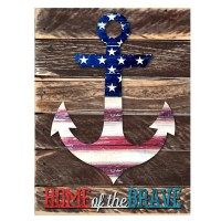 "aMonogramArtUnlimited Rustic Patriotic Anchor ""Home of the ..."