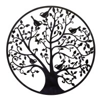 BayAccents Round Metal Tree Branches and Birds Wall Dcor ...