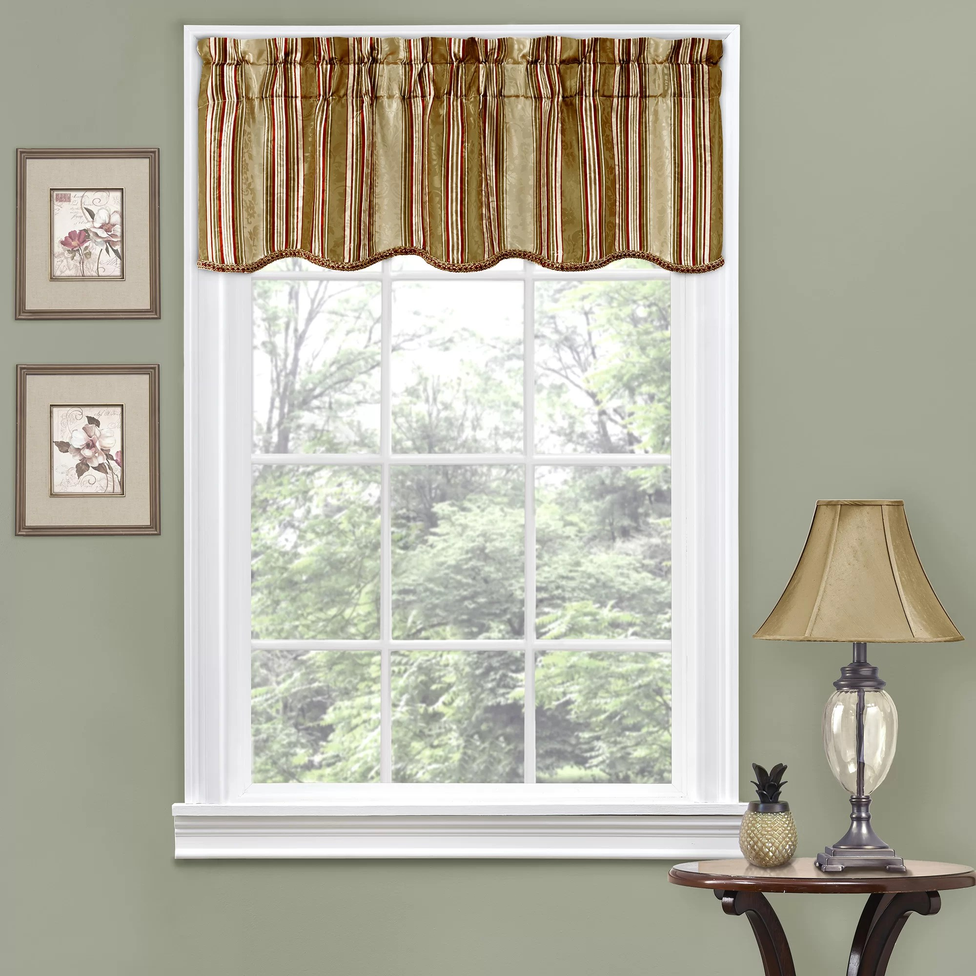 Traditions by Waverly Stripe Ensemble Scalloped 52 Curtain Valance  Reviews  Wayfair