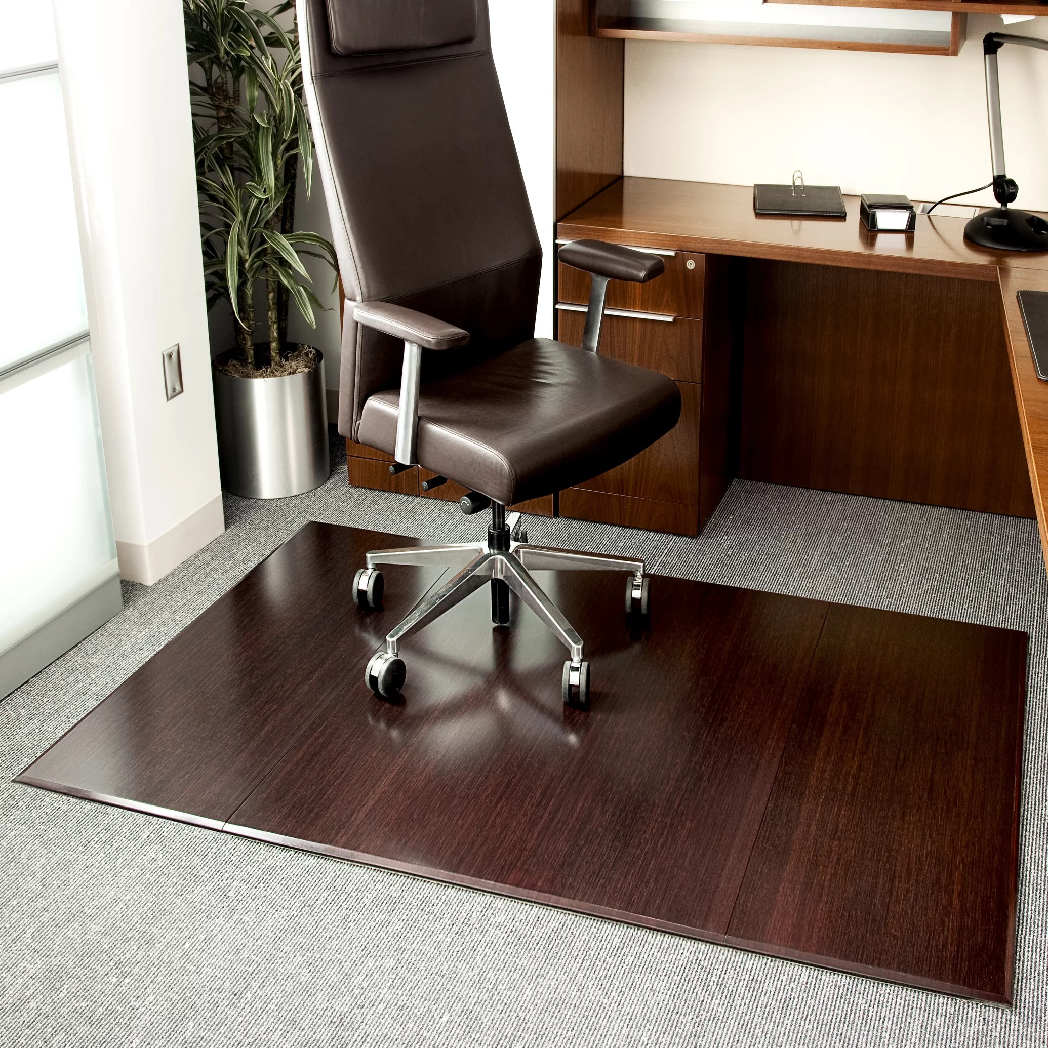 Desk Chair Mat For Carpet Symple Stuff Beveled Bamboo Office Chairmat And Reviews