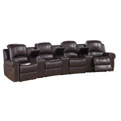 Movie Chairs For Sale Bedroom Chair Philippines Amax Bloomington Leather 4 Seat Home Theater Recliner
