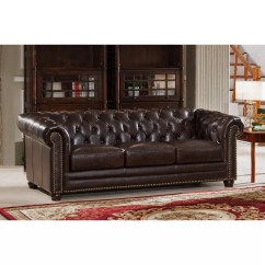Kensington Sofa Bed Reviews Sectional With Recliners Amax Top Grain Leather Chesterfield Wayfair