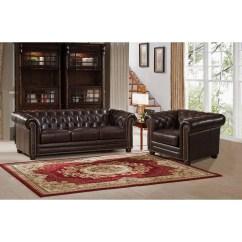 Montclair Top Grain Leather Sofa And Loveseat Set Circle Furniture Reviews Amax Kensington Chesterfield