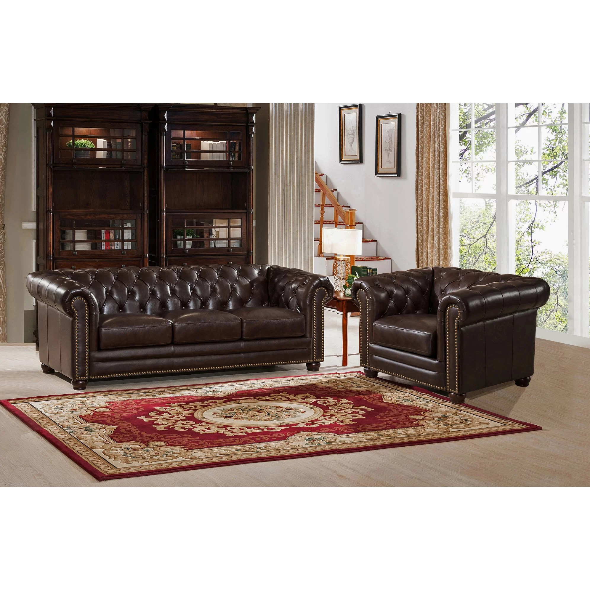 kensington leather chair wood frame accent chairs amax top grain chesterfield sofa and