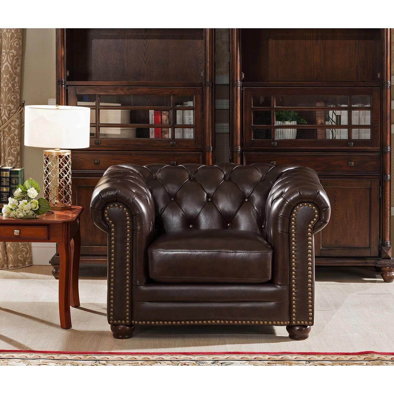 kensington leather chair heated massage pad amax top grain chesterfield sofa