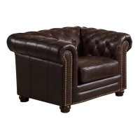 Amax Kensington Top Grain Leather Chesterfield Sofa and ...