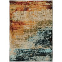 The Conestoga Trading Co. Agave Eroded Abstract Blue/Red ...