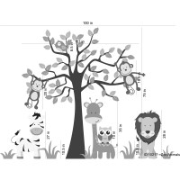 Wall Decal Source Nursery Jungle, Tree, Giraffe and Safari ...