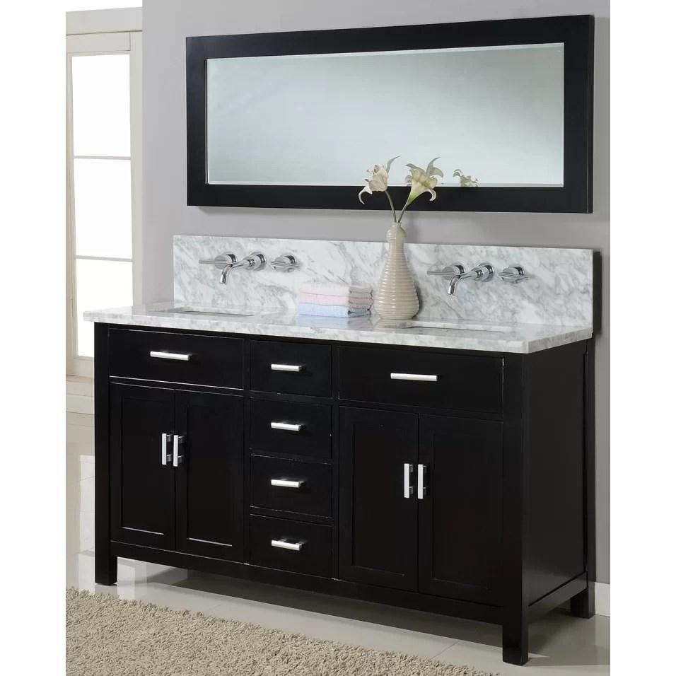 Direct Vanity Sink Hutton Spa 63 Double Premium Bathroom Vanity Set with Mirror  Reviews  Wayfair