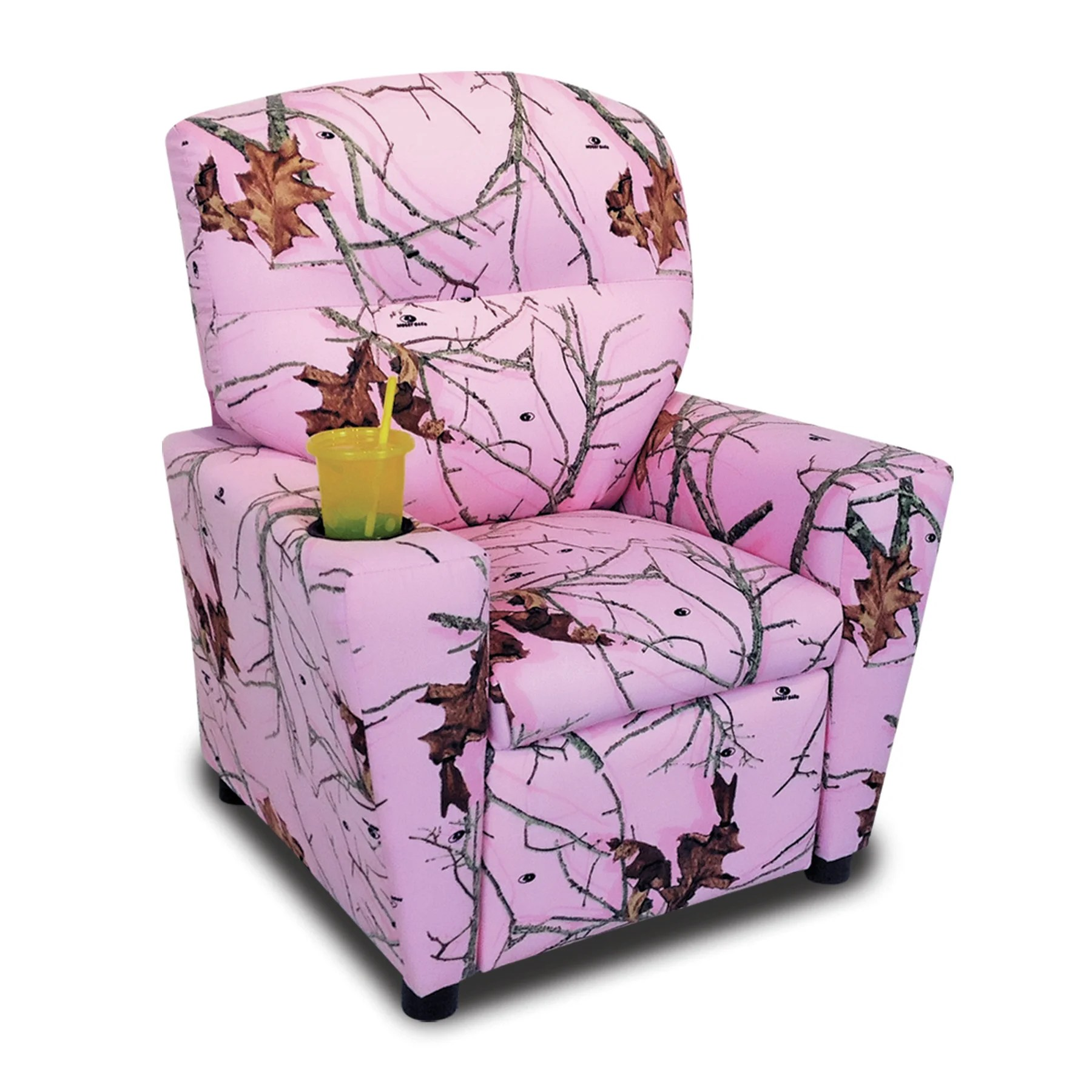 pink camo lawn chair covers jhb mossy oak nativ living kids recliner with cup holder wayfair