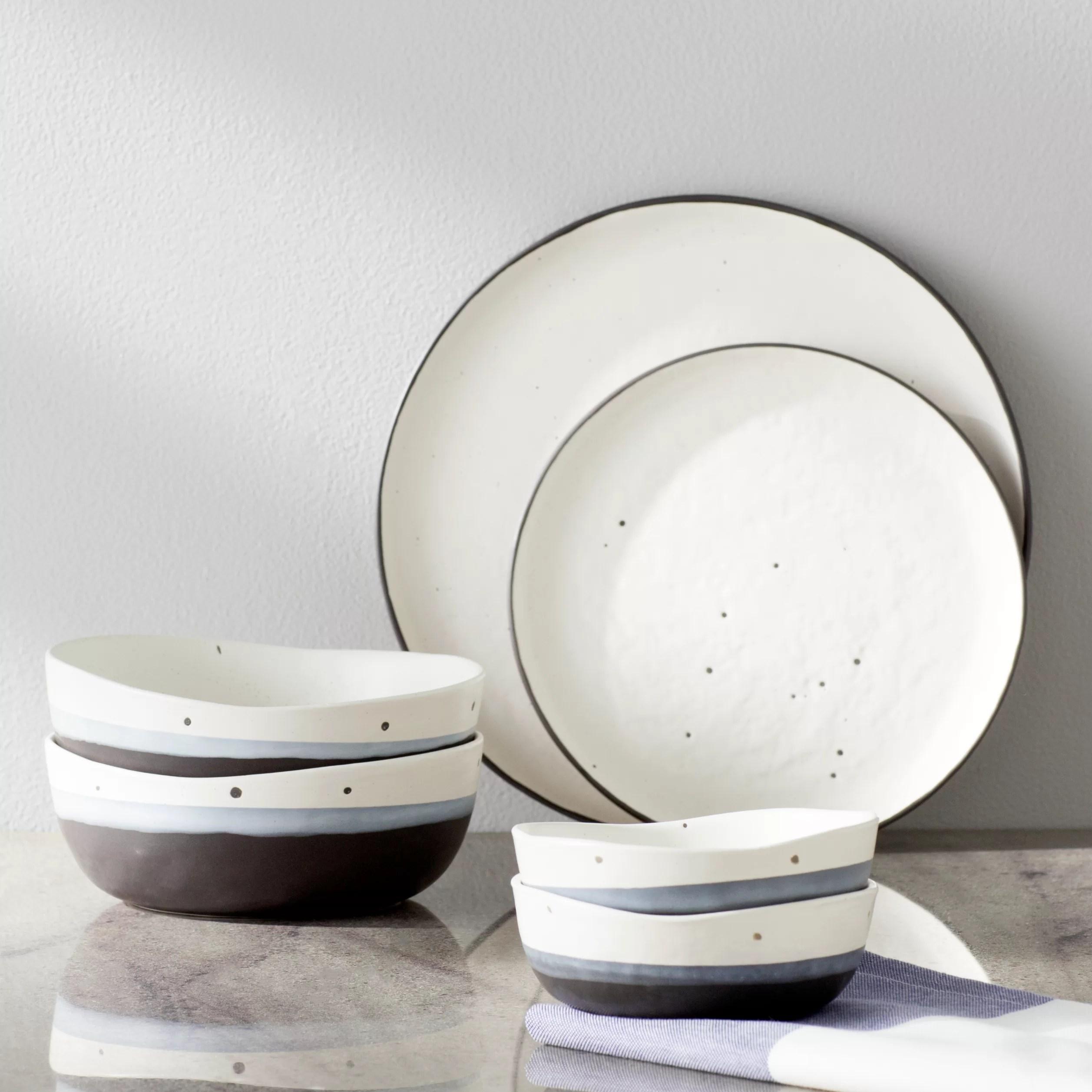 Mint Pantry Thistle 16 Piece Double Bowl Dinnerware Set