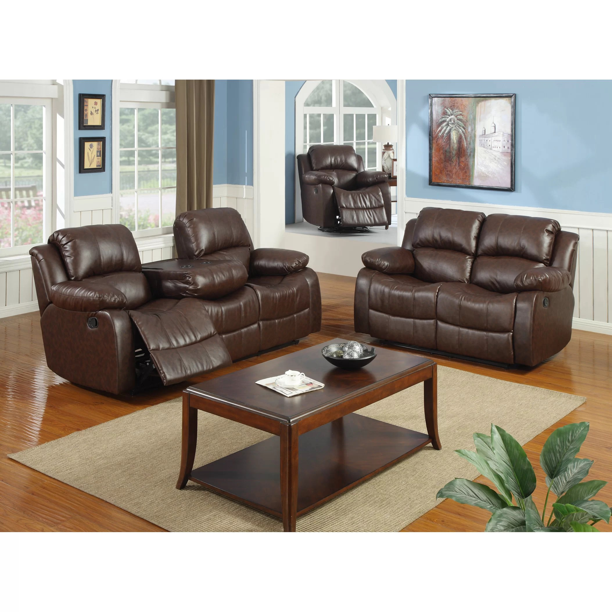 Best Quality Furniture Bonded Leather 3 Piece Recliner