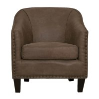 GraftonHome Grace Light Brown Bonded Leather Barrel Chair ...