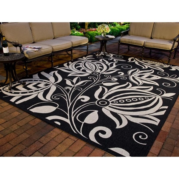 outdoor patio rug Safavieh Courtyard Black & Tan Indoor/Outdoor Area Rug & Reviews | Wayfair