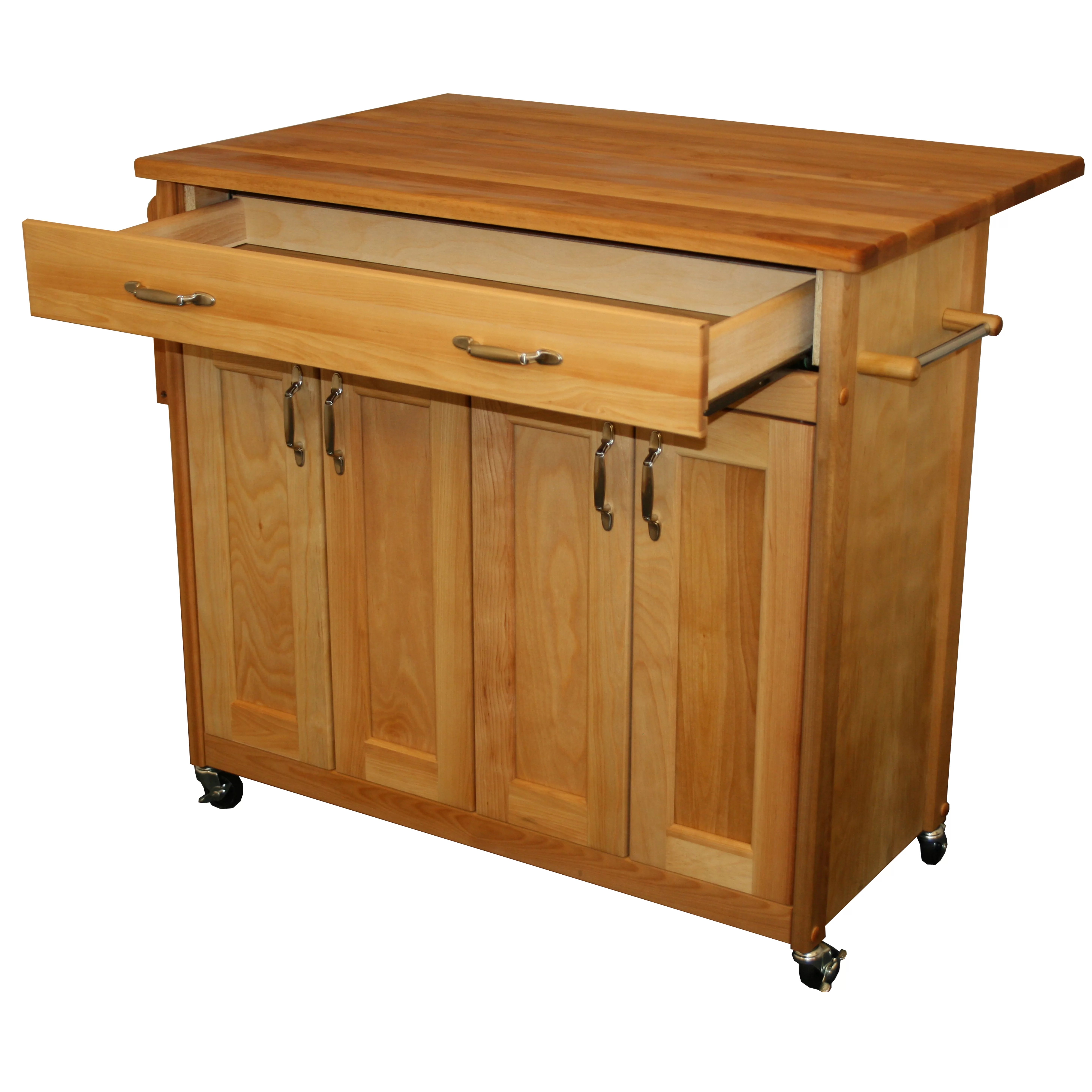 catskill craftsmen kitchen island roll up cabinet doors mid size with wood top