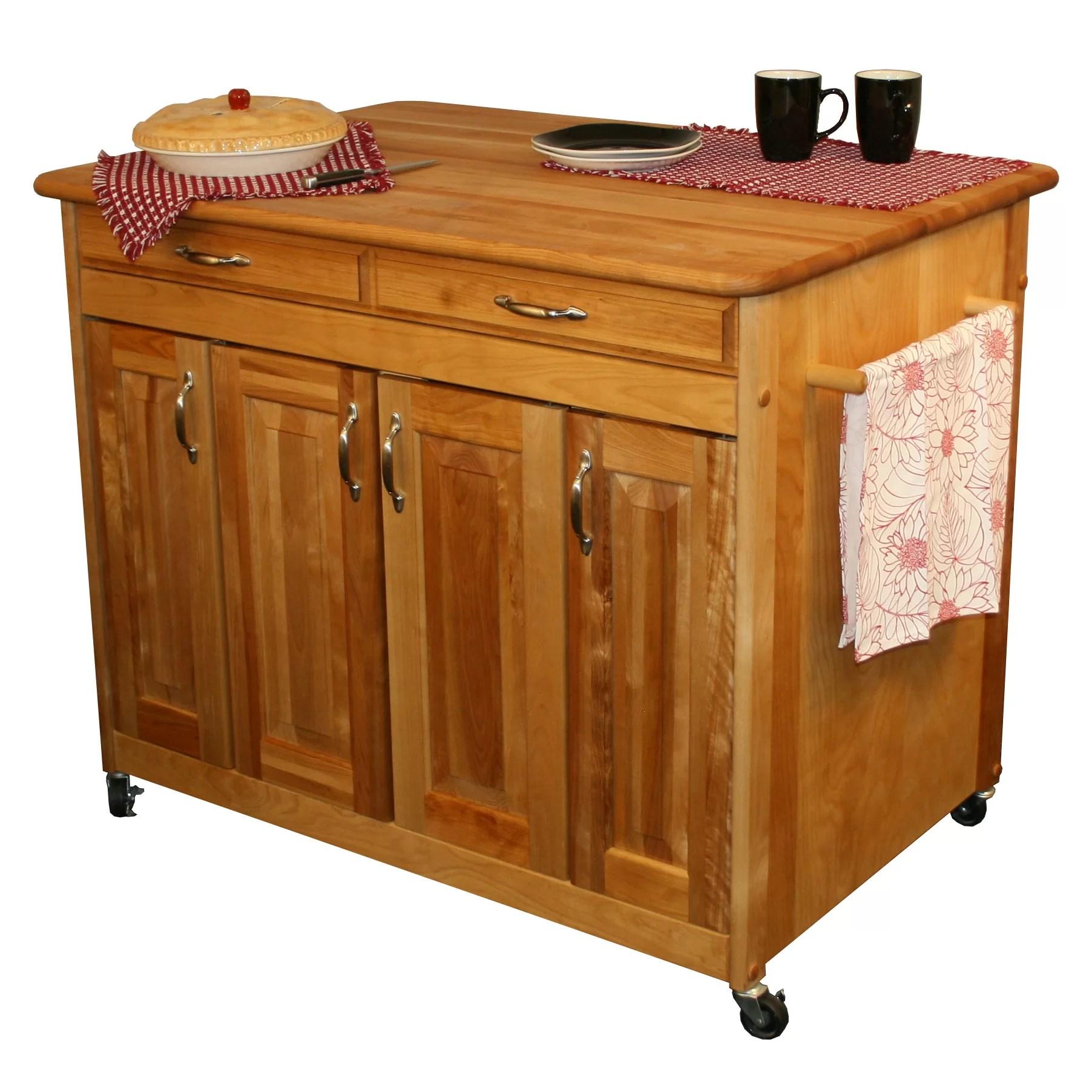 catskill craftsmen kitchen island portable with butcher block top