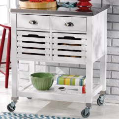 Stainless Steel Kitchen Cart White Island With Granite Top Andover Mills
