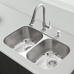 Stainless Steel Kitchen Sink Reviews Red Trash Can Vigo 32 Inch Undermount 50 Double Bowl 18 Gauge