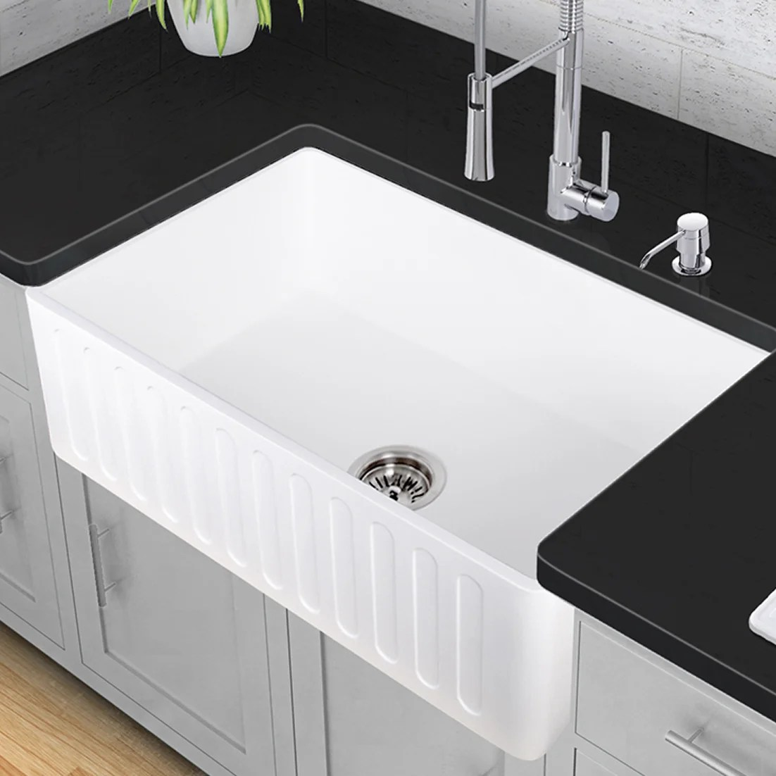 vigo kitchen sinks unfinished cabinet 33 quot x 18 farmhouse sink and reviews wayfair