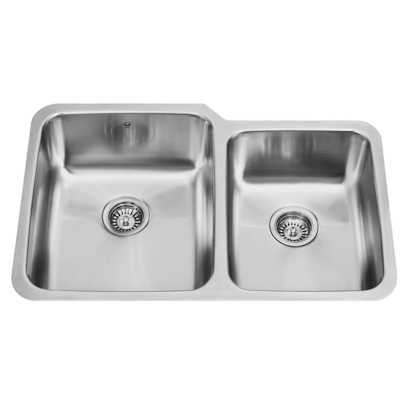 stainless steel kitchen sinks undermount walmart islands sale vigo 32 inch 60 40 double bowl 18 gauge