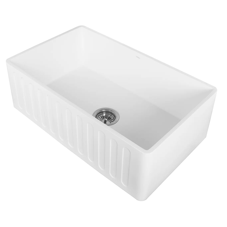 30 inch kitchen sink pre assembled cabinets vigo farmhouse apron single bowl matte stone