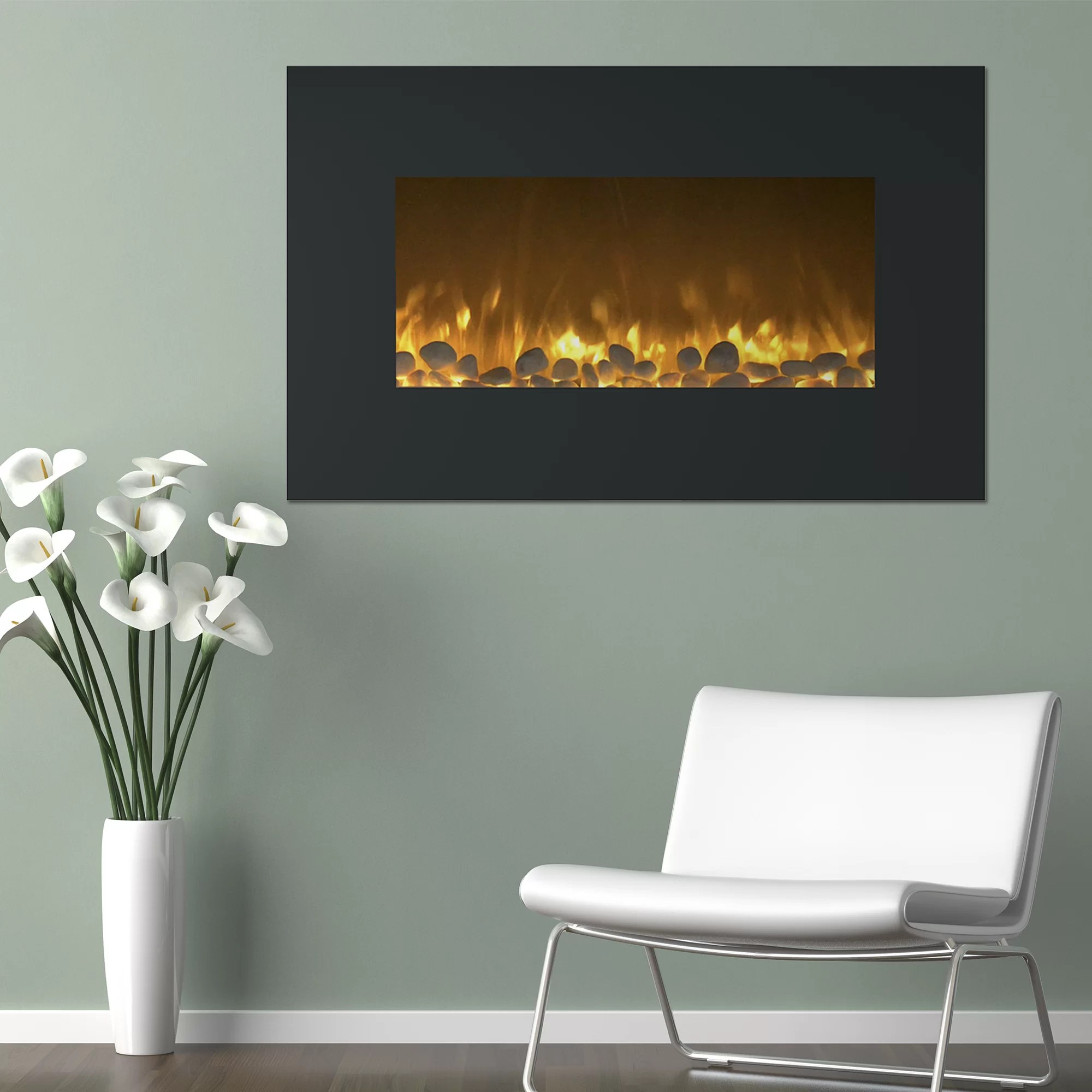 Northwest Flat Wall Mount Electric Fireplace & Reviews