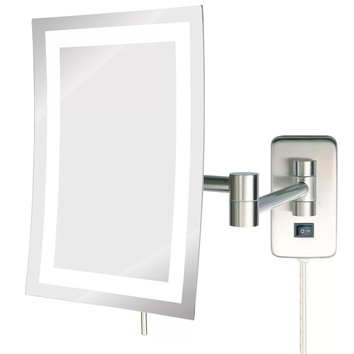 Jerdon LED Lighted Wall Mount Rectangular Makeup Mirror