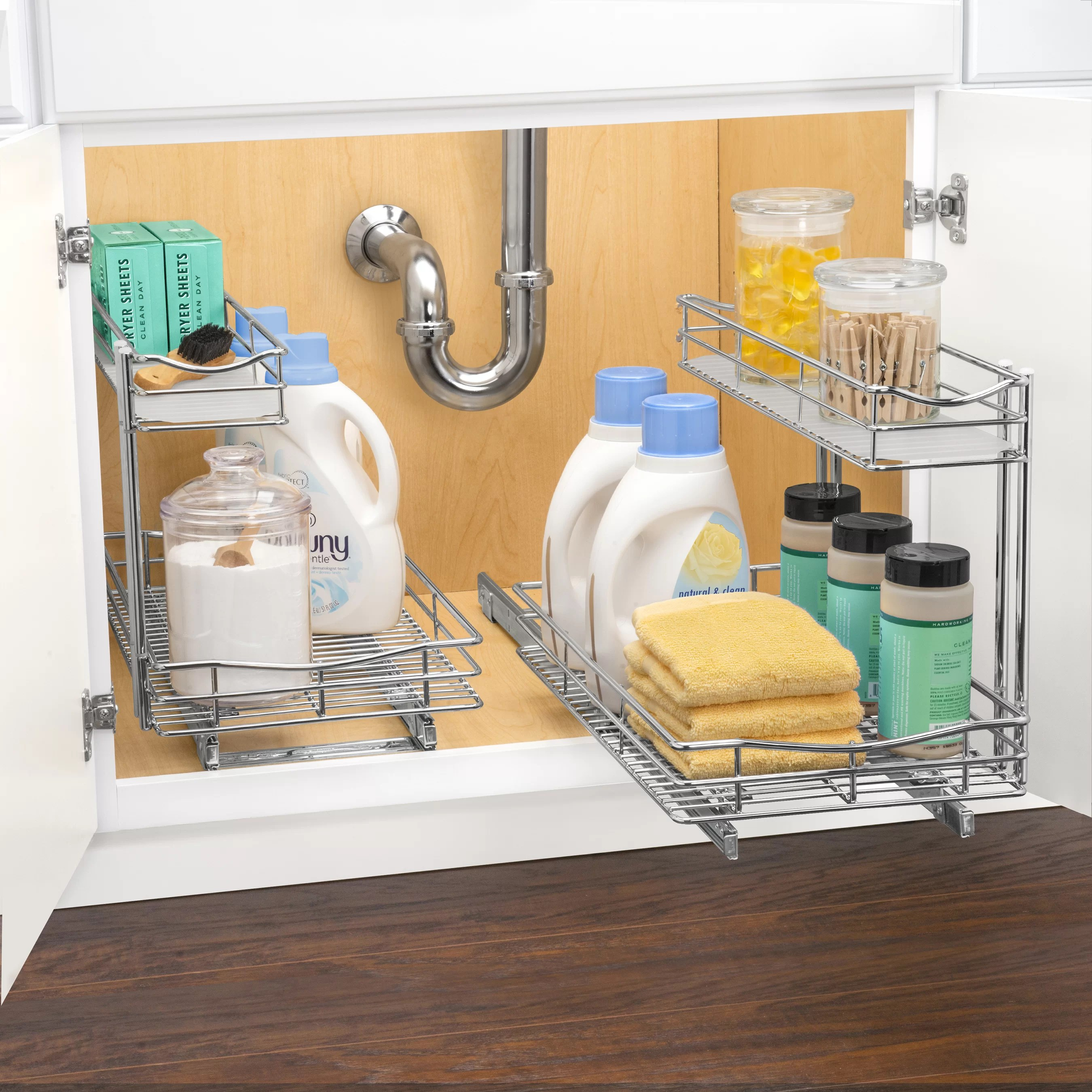 two tier kitchen drawer organizer magazine lynk roll out under sink cabinet pull
