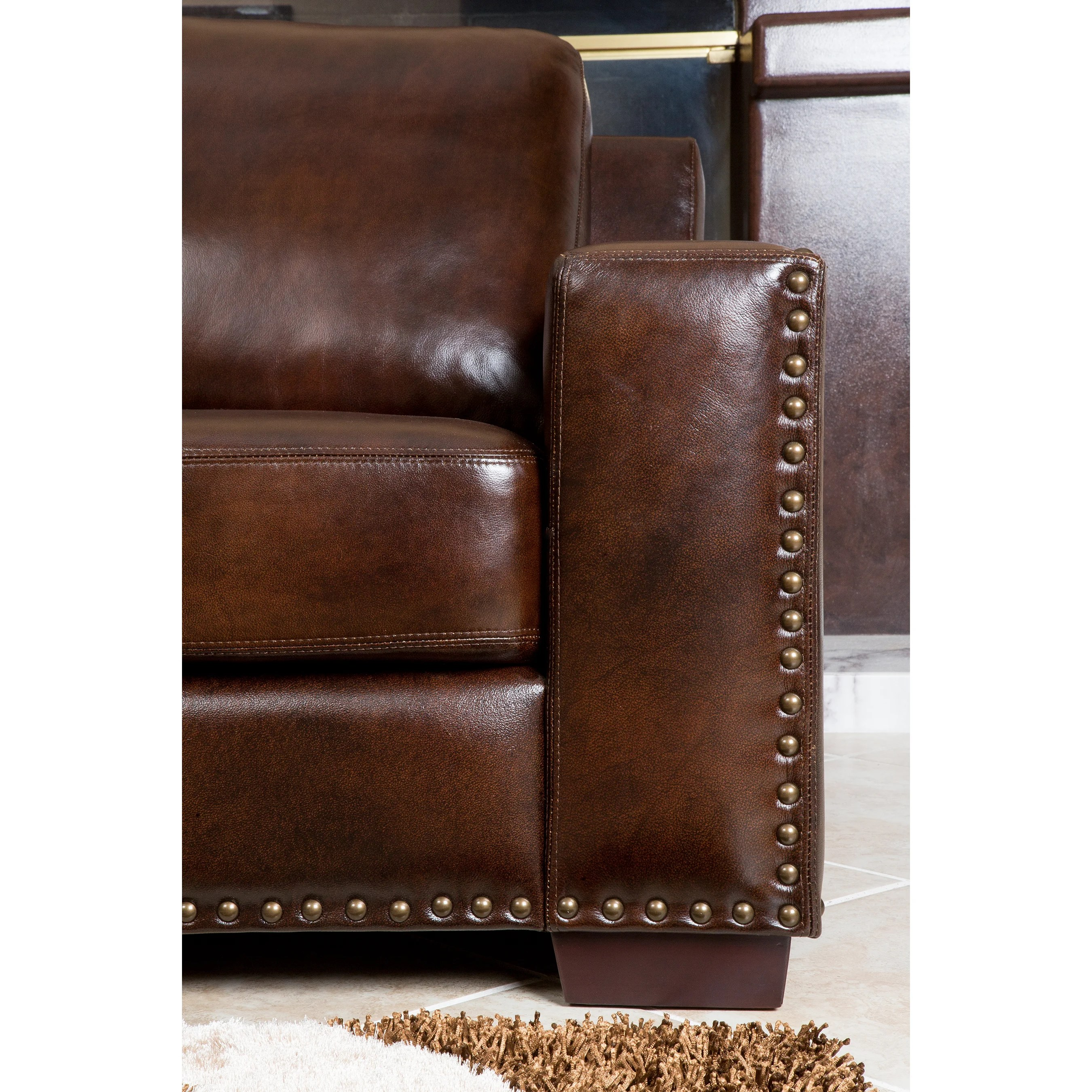 abbyson leather sofa reviews heavy duty sleeper living beverly loveseat and wayfair