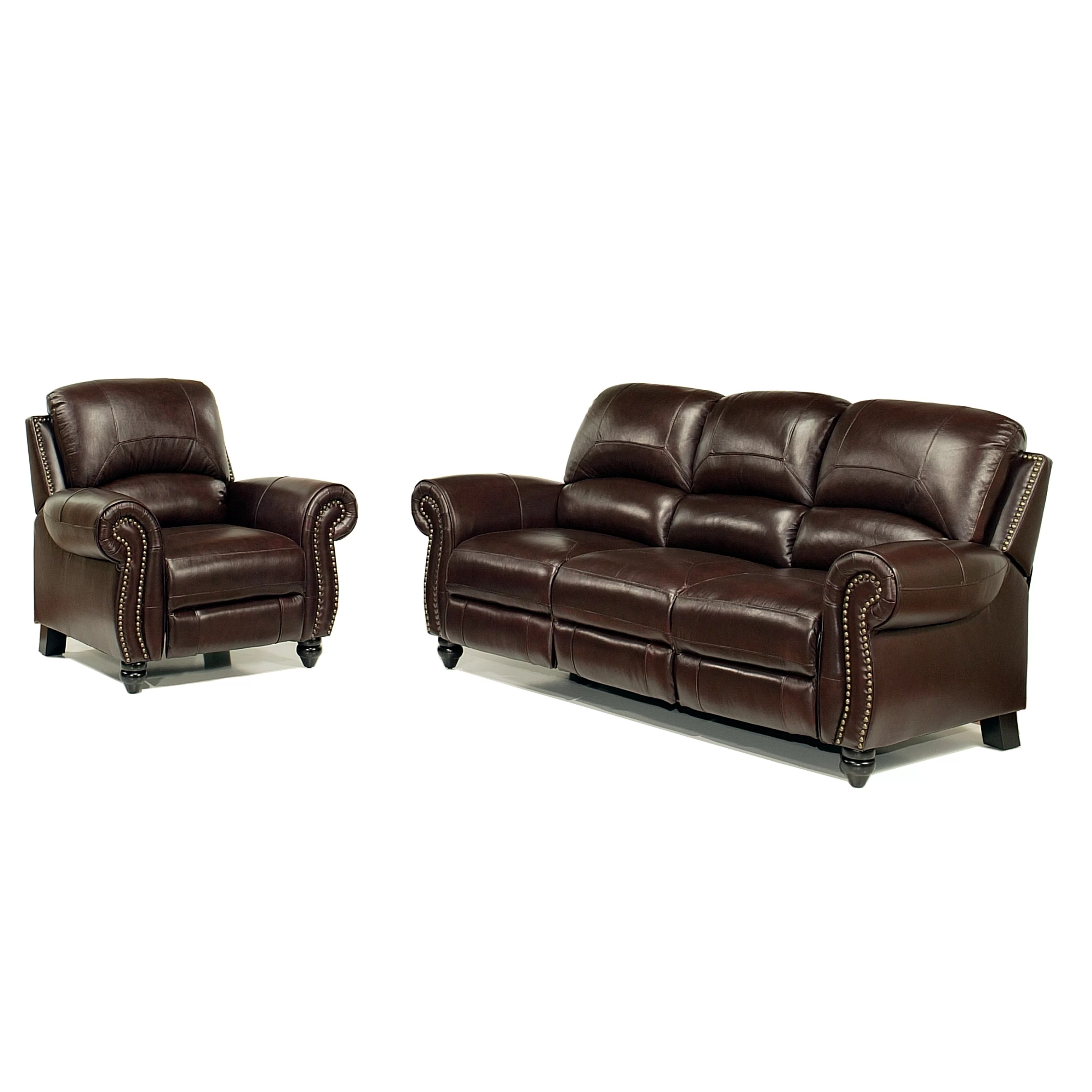 marlow reclining sofa loveseat and chair set cama bogota colombia darby home co kahle leather