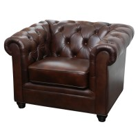 Abbyson Living Arcadian Premium Italian Leather Arm Chair ...