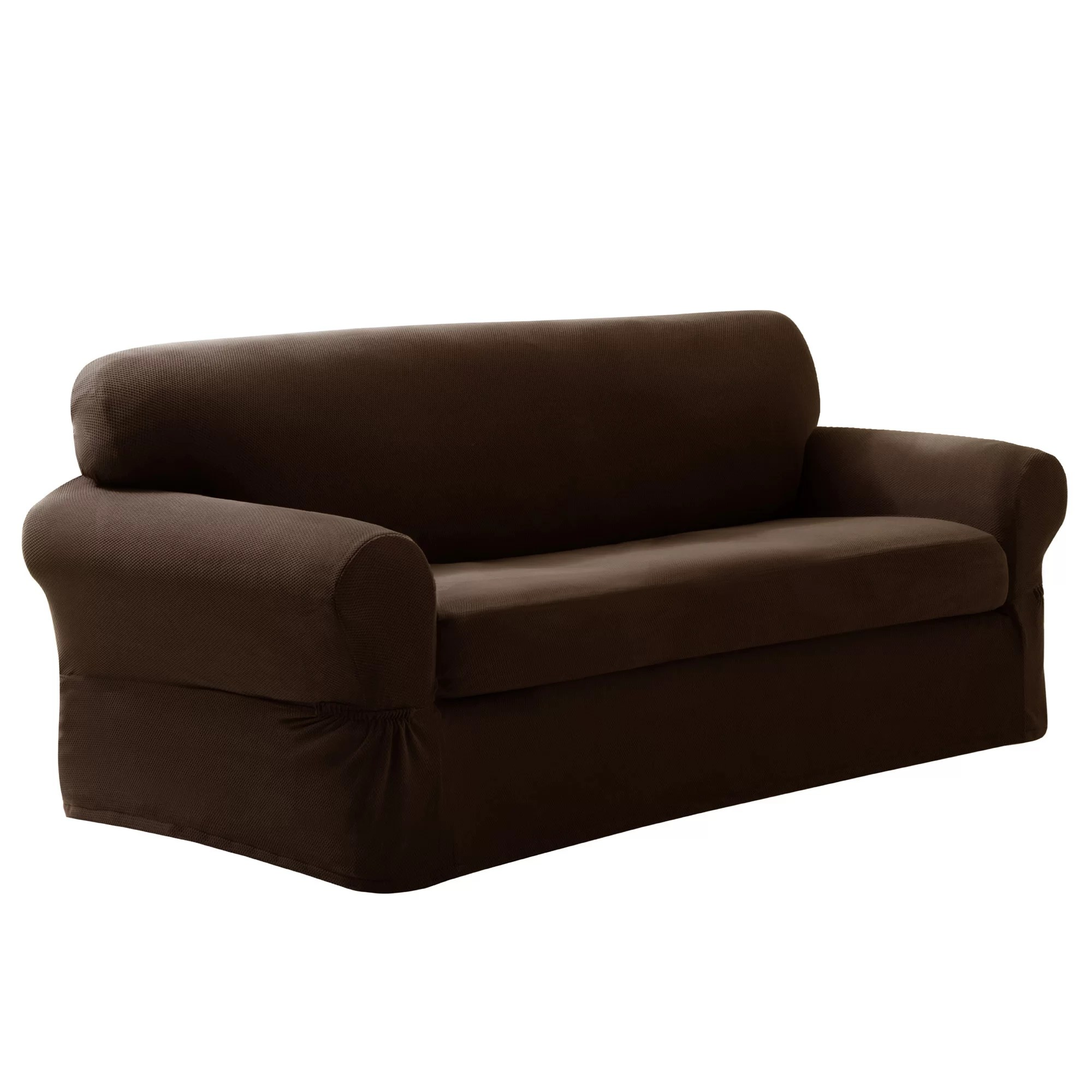two cushion sofa slipcover high table maytex pixel stretch 2 piece box