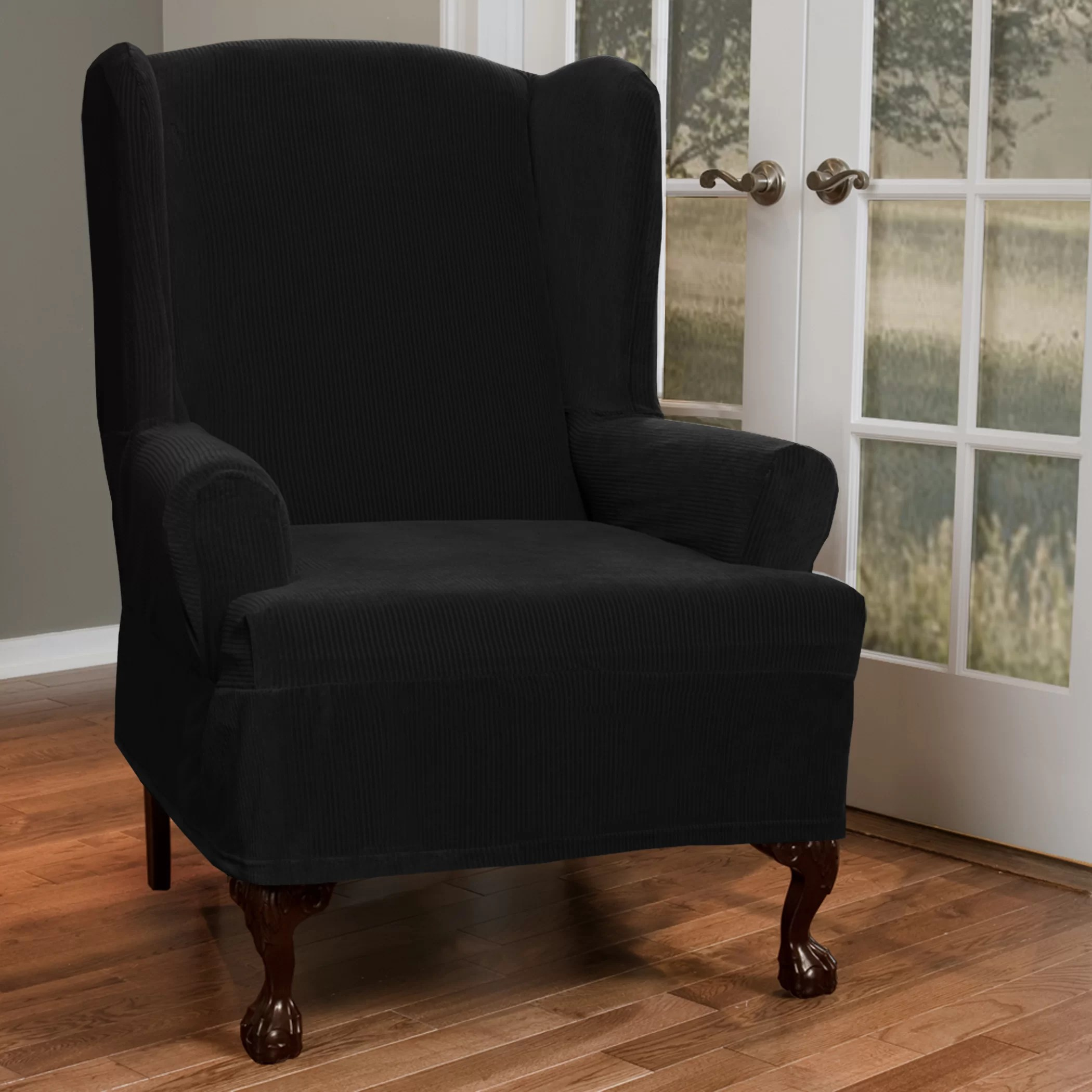 Wing Chair Slipcover Maytex Collin Stretch T Cushion Wing Chair Slipcover