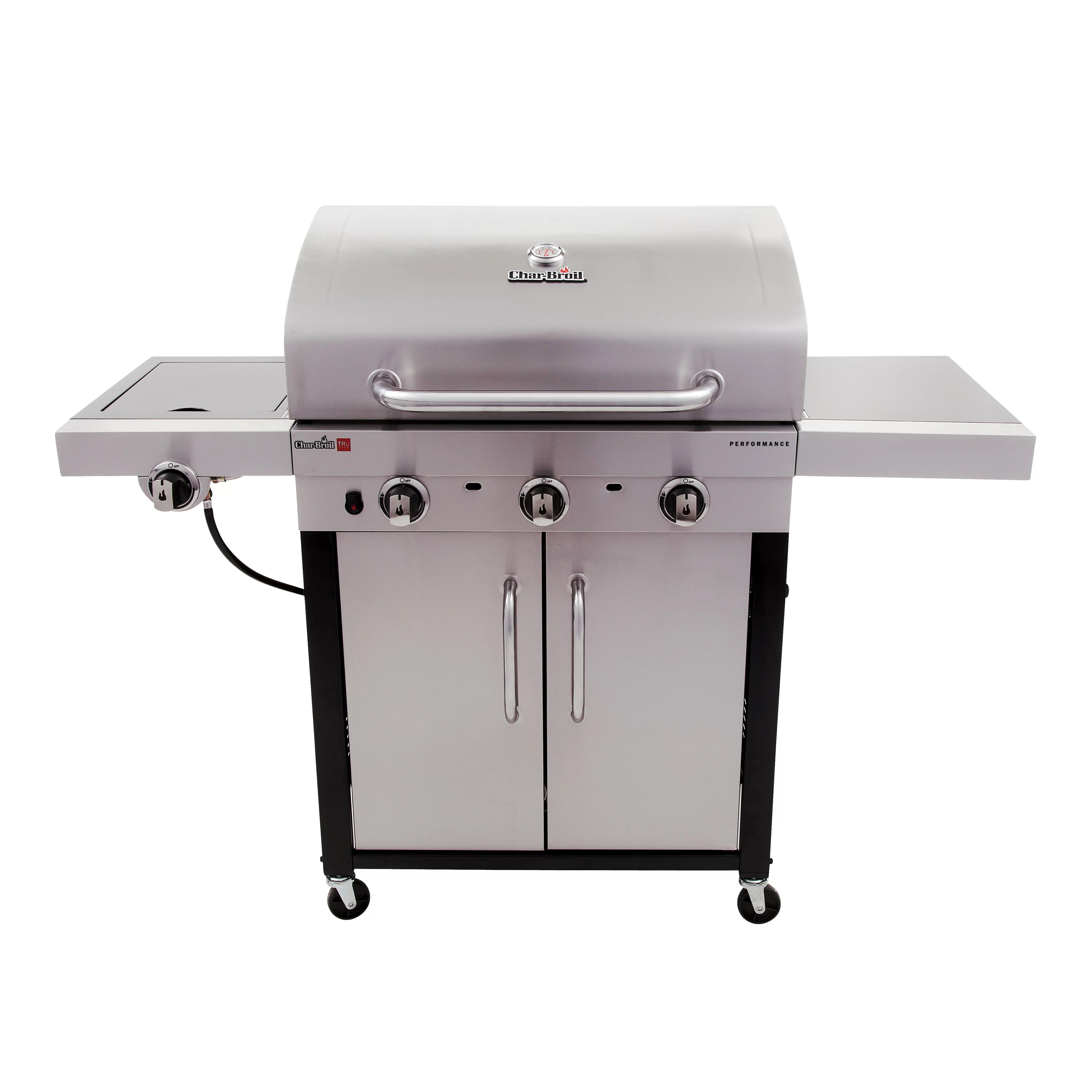 outdoor kitchen with freestanding grill german cabinets charbroil performance 3 burner free standing liquid