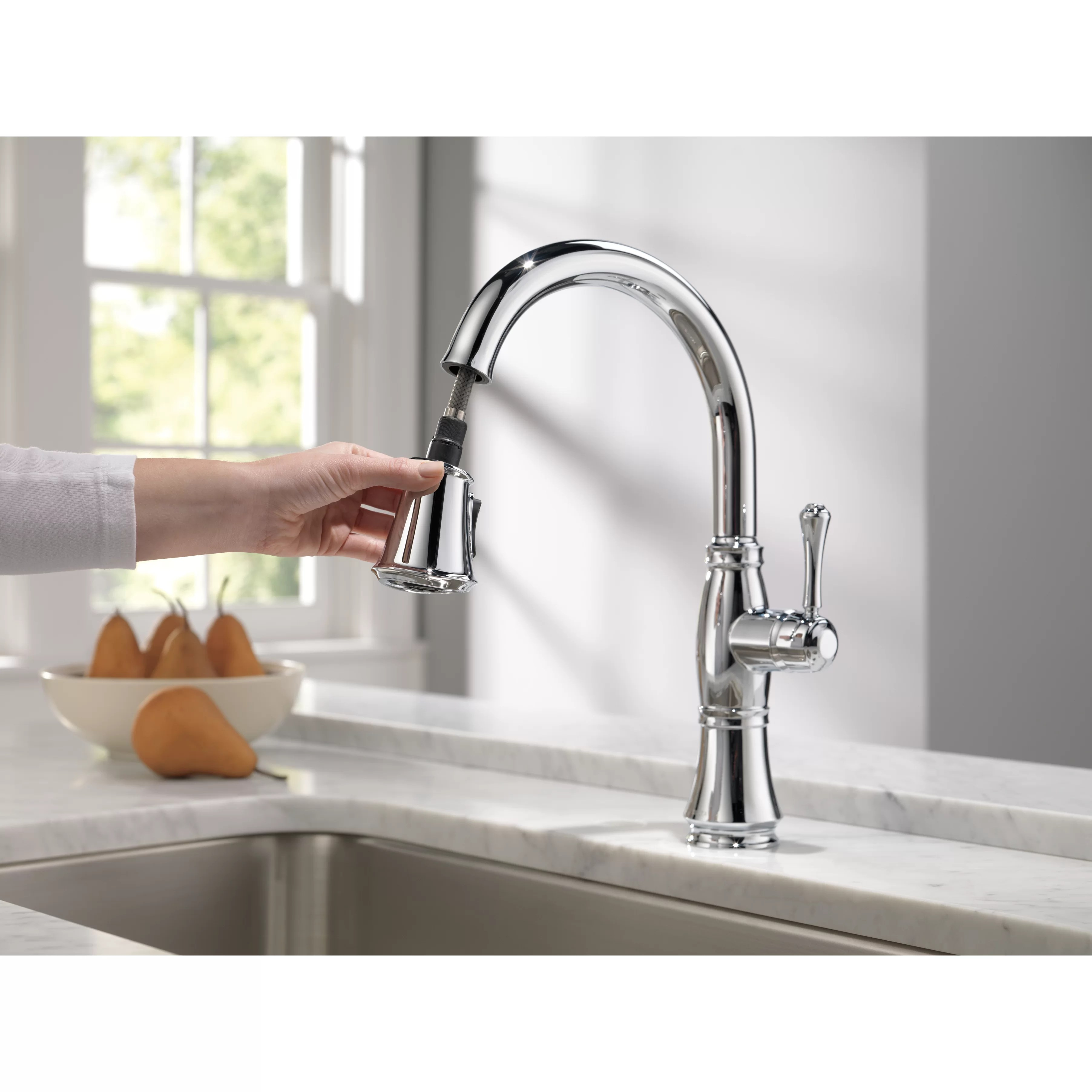 delta cassidy kitchen faucet antique white cabinets single handle standard with