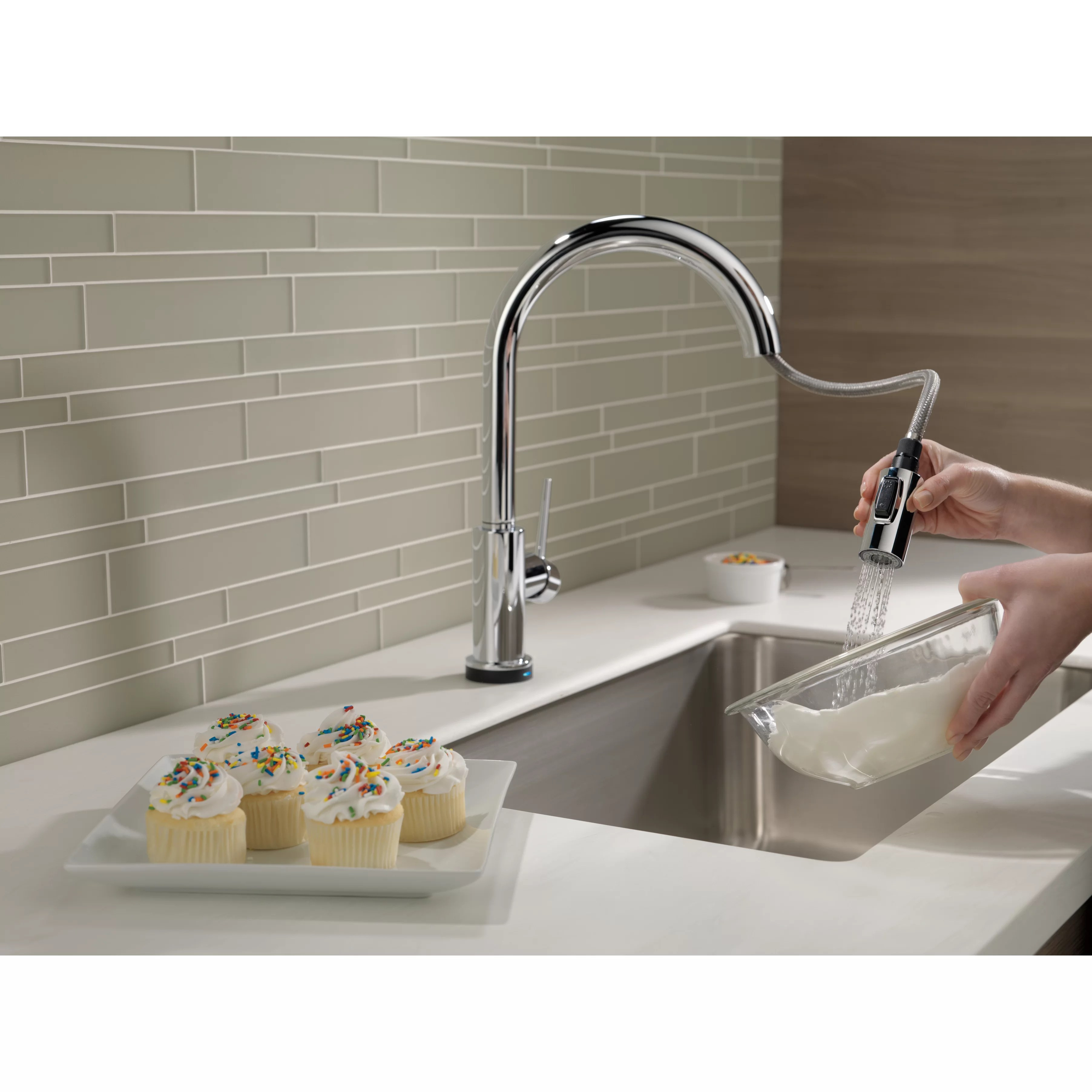 delta trinsic kitchen faucet pics of cabinets single handle pull down standard
