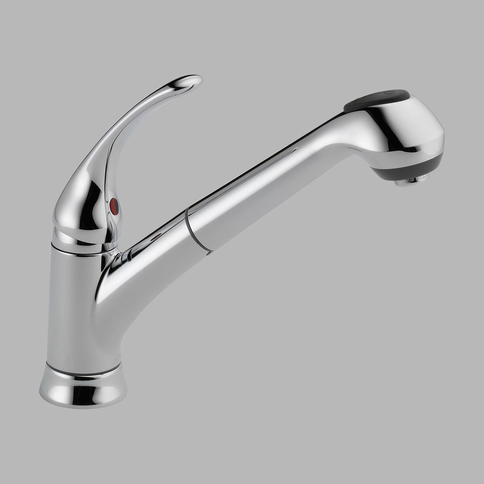 one handle kitchen faucet knotty alder cabinets delta foundations single deck mounted