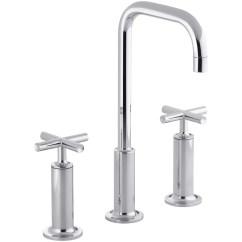 Widespread Kitchen Faucet Refacing Cabinet Doors Kohler Purist Bathroom Sink With High