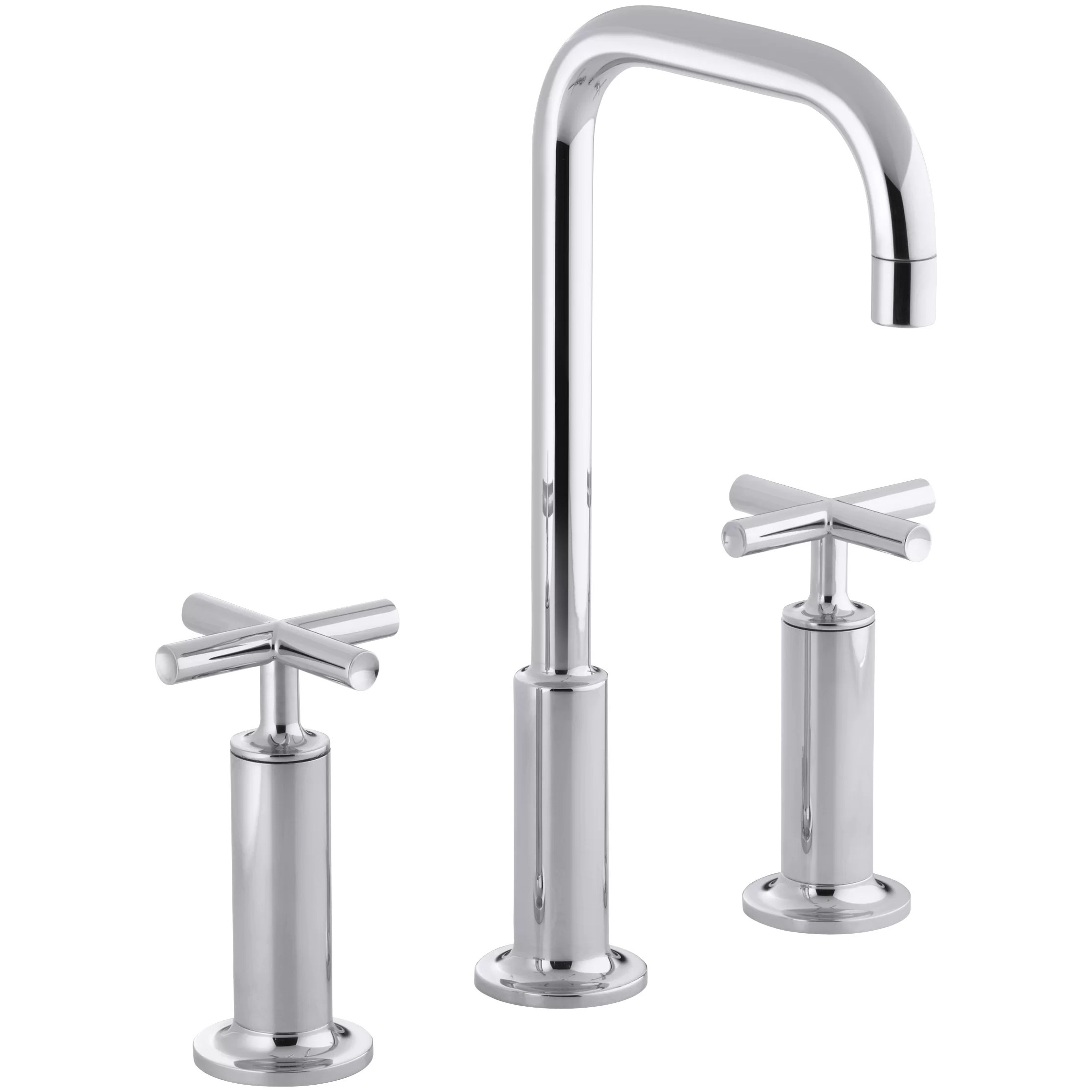 widespread kitchen faucet molding for cabinets kohler purist bathroom sink with high