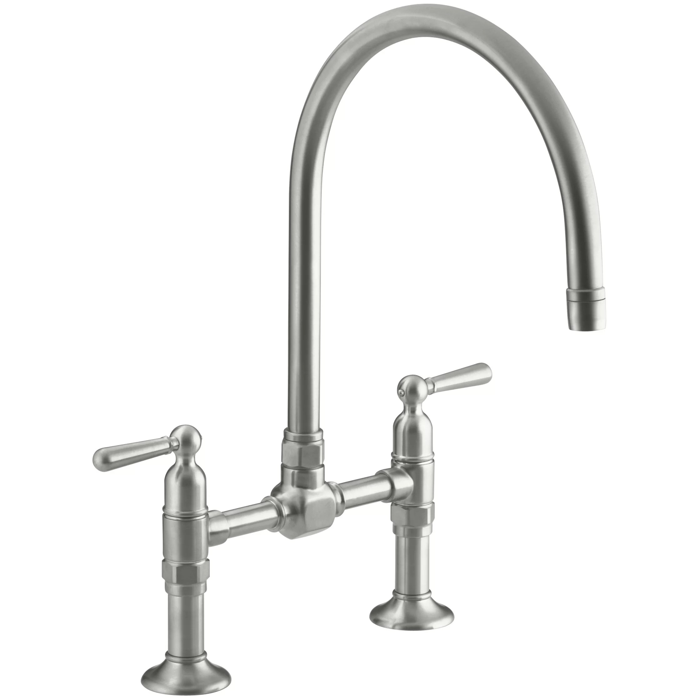 bridge faucets for kitchen islan kohler hirisetwo hole deck mount sink