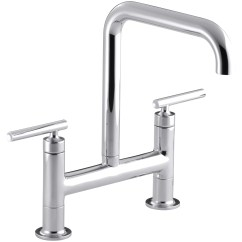 Bridge Faucets For Kitchen Best Stainless Steel Sink Kohler Purist Two Hole Deck Mount