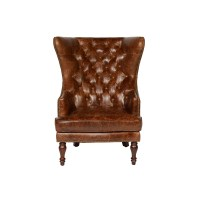Lazzaro Leather Sedgefield Wing Back Tufted Wingback Chair
