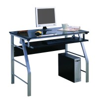 InRoom Designs Computer Desk with Tempered Glass & Reviews ...