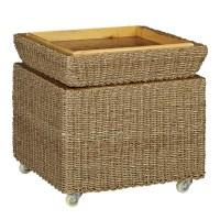Household Essentials Rolling Seagrass Wicker Storage Seat ...