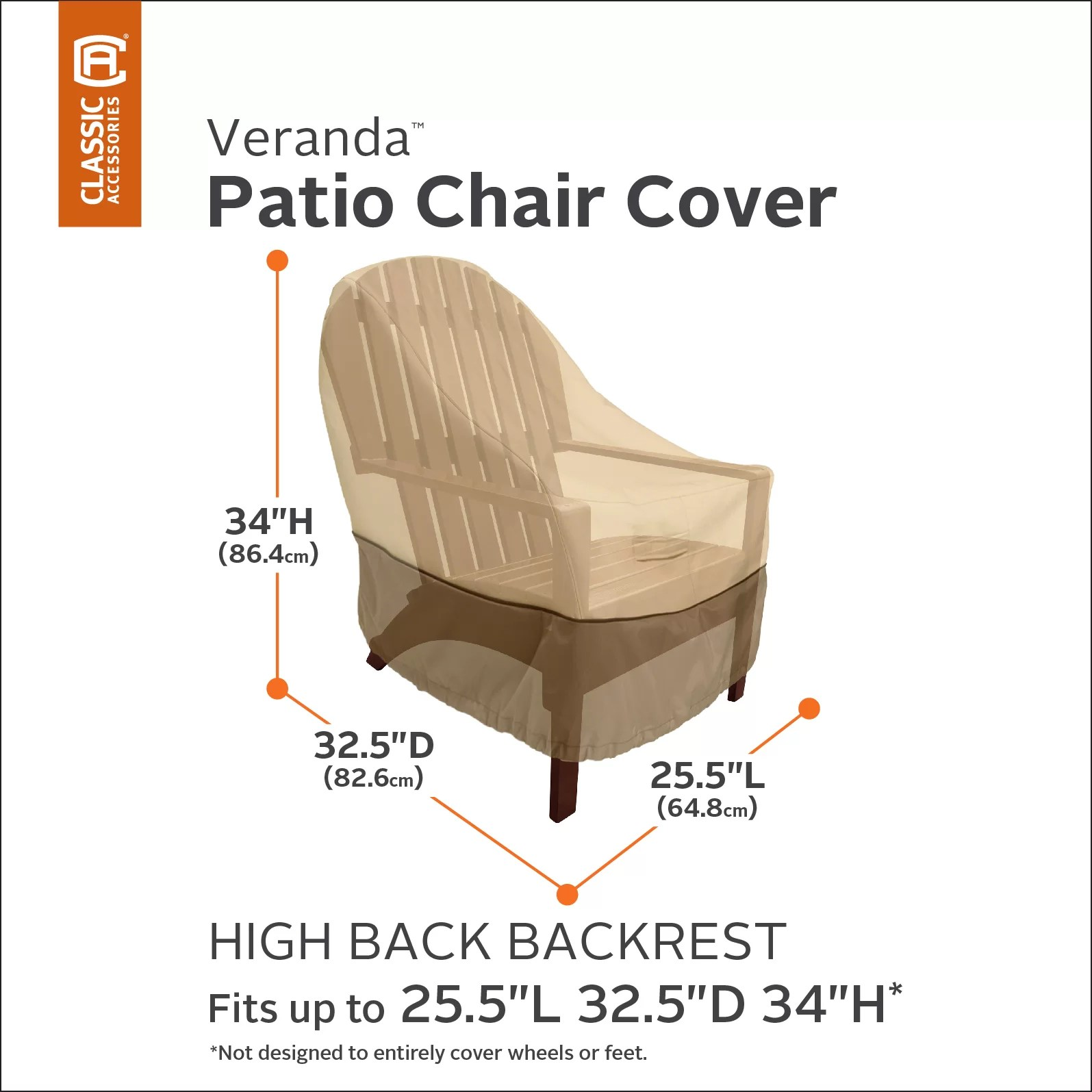 high back chair covers adirondack and ottoman set classic accessories veranda cover