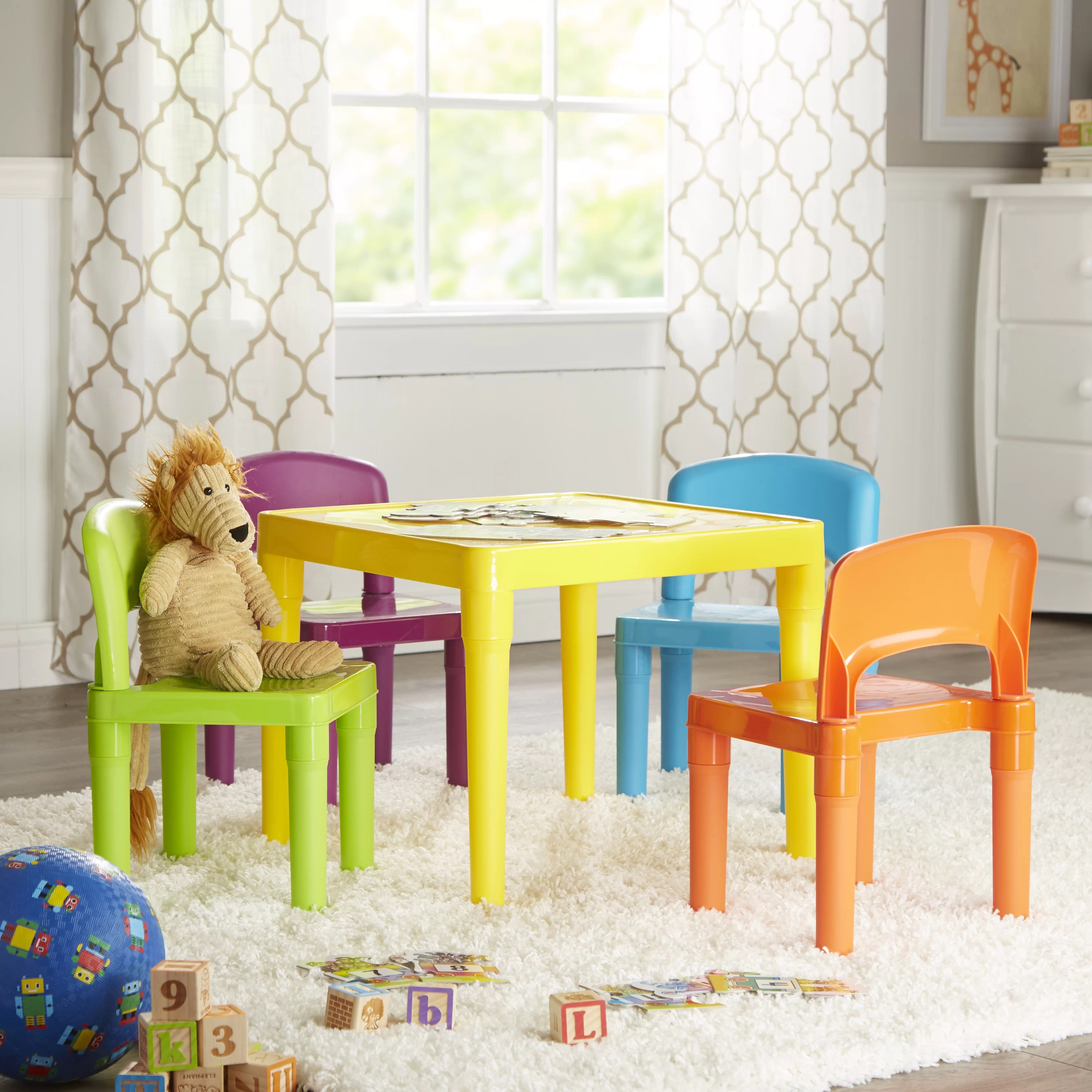 tot tutors table and chairs deck lounge kids 5 piece plastic chair set
