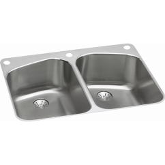 Stainless Steel Kitchen Sinks 33 X 22 Refrigerator Elkay Harmony Quot Equal Double Bowl